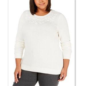 NWT Karen Scott Floral Embroidered Sweater Plus 1X